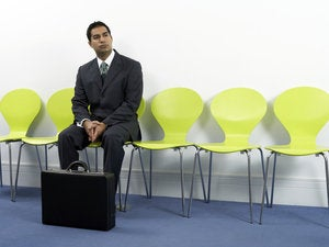 Businessman waiting for interview