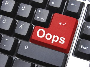 oops key showing mistake error or failure 96395168