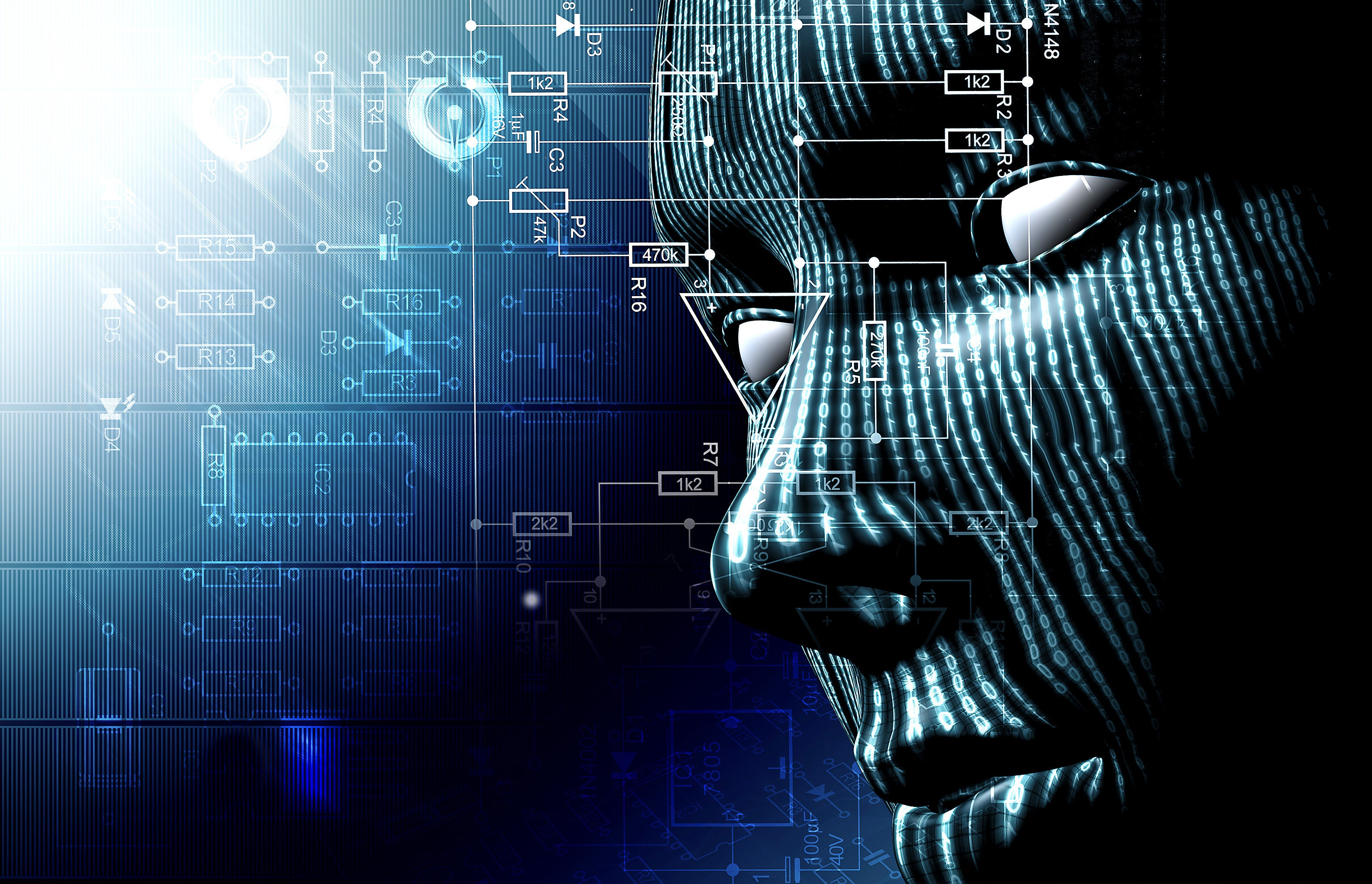 Virtual face of artificial intelligence circuits and binary data