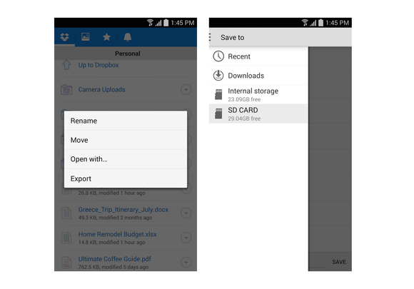 dropbox android save to sd card