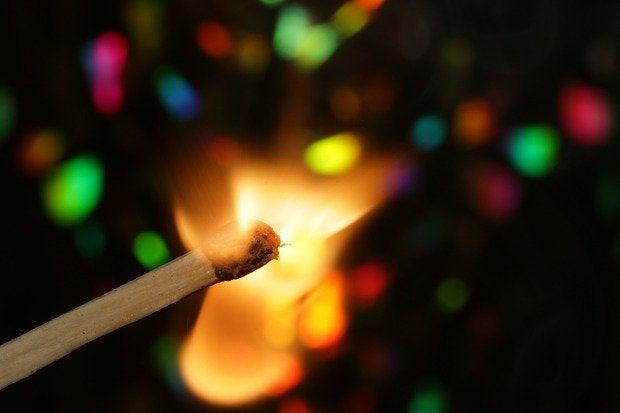 lit matchstick fire spark