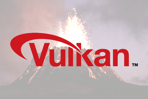 The Vulkan API logo.
