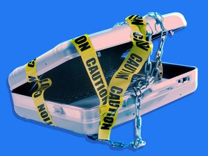 top secret data protection security briefcase caution police tape