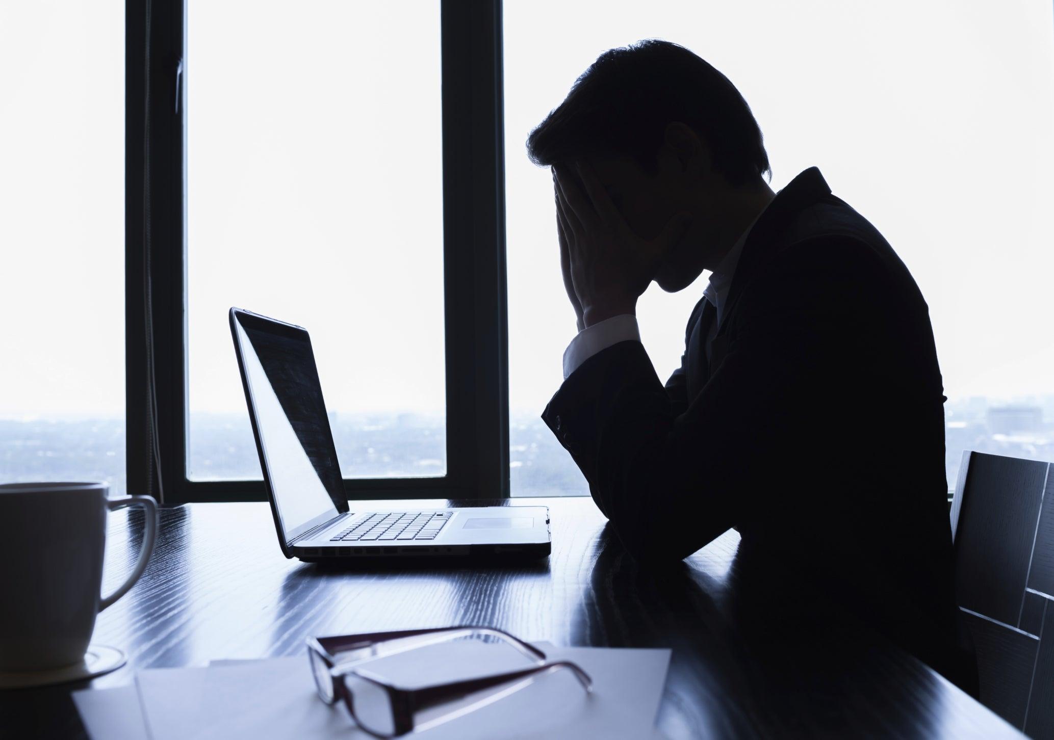 depression businessman thinking loss sad overworked