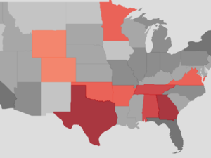 Map of states voting in GOP primaries and caucuses on Super Tuesday