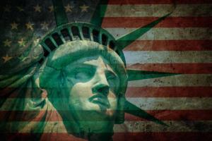 H-1B Visa statue of liberty against american flag