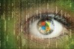 digital data surveillance eye with Windows logo