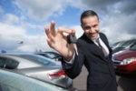 car salesman auto dealer keys