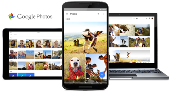 Three devices running Google Photos